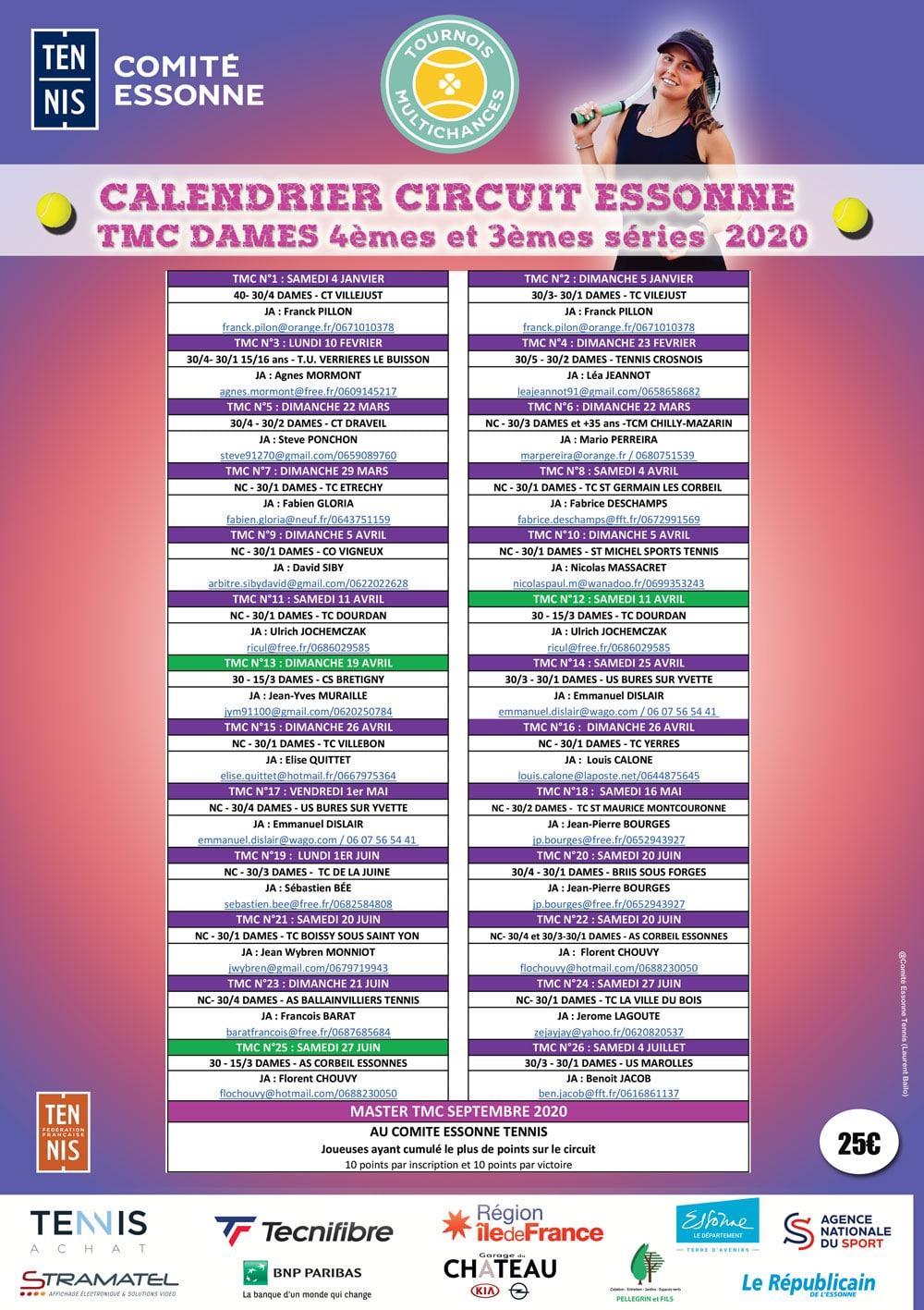 Calendrier Tmc Tennis 2021 TMC Femmes   Comité Essonne Tennis