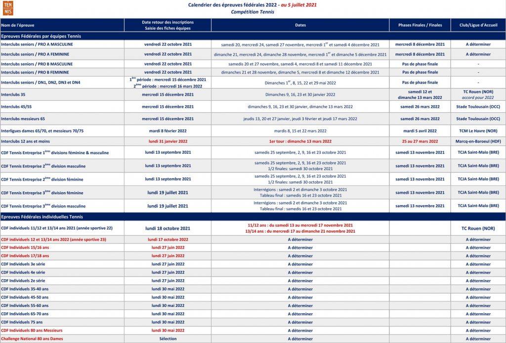 Calendrier Tmc Tennis 2022 Calendrier 2021/2022   Comité Essonne Tennis